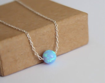 Opal necklace, opal ball necklace, opal silver necklace, opal jewelry, tiny dot necklace, opal bead necklace, dot necklace, blue opal