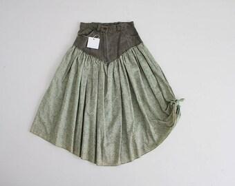 denim floral skirt | country romance skirt | green floral skirt
