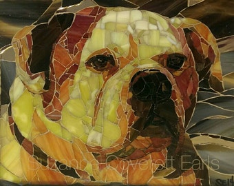Clifford's Sunset, 10*12, bulldog stained glass on glass mosaic pet portrait memorial