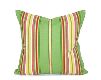 Bright Green Pillow, Green Striped Pillow, Green Yellow Pink Pillow, Inside Outside Cushions, Playroom Pillow Cover, 12x18 16x16 18x18 20x20