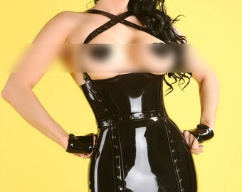 Latex Clothing dress Little Black Dress in Black with lace up back detail and suspenders Lingerie