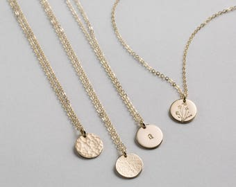Simple Necklace in 14k Gold Fill, Silver, Rose Gold • SMALL DISK Necklace • Delicate Circle Tag Necklace, Personalized Coin, Disc • LN209