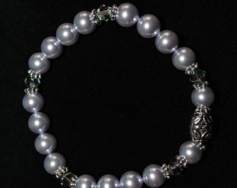 Swarovski Crystal and Pearl Bracelet in Lavender