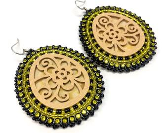 Black & Yellow Drop Earrings