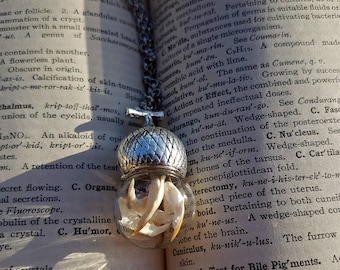 Glass Sphere Bone Acorn Orb Necklace - real rodent jawbones in silver and glass, witchy, goth necklace