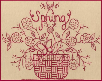 Redwork Seasons: Spring - Redwork Hand Embroidery Pattern - by Beth Ritter for Wellington House Designs - Instant Digital Download