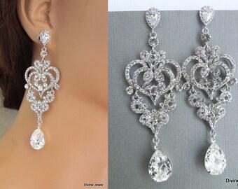 Bridal Earrings Swarovski earrings Chandelier Earrings Long Rhinestone Earrings Wedding Crystal Earrings Statement Bridal Earrings ALISON