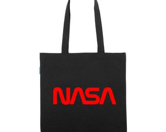 NASA Worm Logo - BIO Stoffbeutel Hippster Bag Raumfahrt Weltall Mond Space