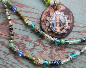 Sacred Blue and Green Mary Necklace