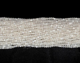 """Natural White Mother of Pearl 2.5mm Round Bead AAAA -16"""" Strand"""