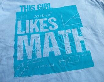"""WOMEN'S MATH UNISEX T-shirt """"Likes Math"""" Short Sleeve Screen Printed Navy Cotton Tee Stem Teacher Graduation Gift"""