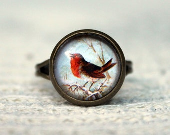 Red Ring, Robin Ring, Bird Ring,Glass Dome Ring, Adjustable Ring, Statement Ring