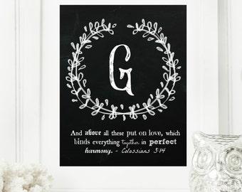 "Instant ""Family Monogram Scripture"" Chalkboard Wall Art Print 8x10 Typography Letter ""G"" Printable Home Decor"