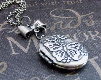 Butterfly Locket, Butterfly Necklace, Locket Necklace, Butterfly Jewelry, Photo Locket, Silver Locket, Butterfly Pendant, Picture Locket