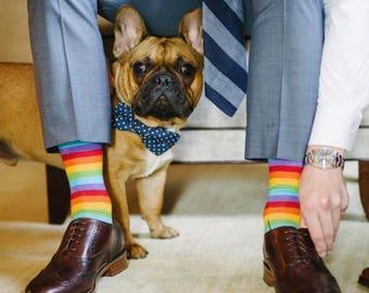 Navy Polka Dot Dog Bow Tie - Optional Matching Dog Collar Dog Leash - By Poppy Parker
