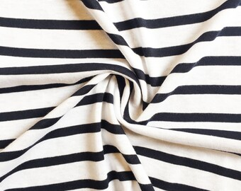 Striped Jersey fabric blue and white cotton
