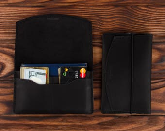 Black Leather Passport Holder – Multiple Passport Travel Organizer - Wallet Cover Case