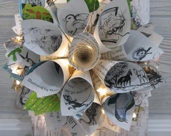 Wreath on reclaimed wood with fairy lights