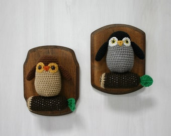 Crochet Taxidermy Owlets on a Log
