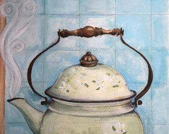 Steaming Tea - Original Painting by Leonor Dao - Acrylic and Crayon on Paper - 10 x 14 inches