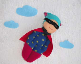 Superhero doll, Waldorf inspired super hero pocket doll for little boy, Tiny sock doll, Handmade rag doll with super hero cape and mask