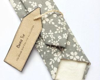 Grey skinny tie, mens skinny tie, grey floral tie, wedding tie