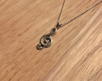Sterling Silver Treble Clef Music Necklace