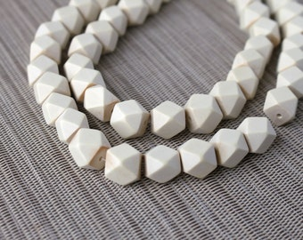 12mm White Geometric Polygon Wood Beads - Bleached - 15 inch strand