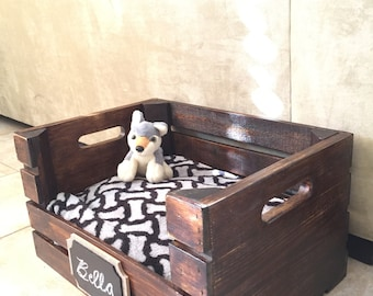 Wooden Dog Bed | Wine Crate Dog Bed for Small Dogs |  FREE SHIPPING (East Coast Additional)
