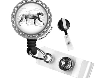Cat Anatomy Black & White Medical Illustration Silver Retractable ID Tag Holder Badge Reel by Geek Badges