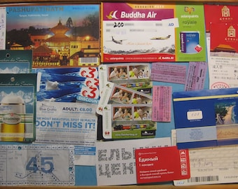 Set 21 Assorted Tickets Mixed - Altered Art - Assemblage - Scrapbooking - Smash Book – Collage