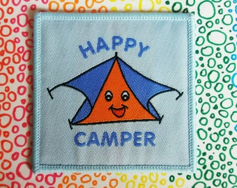 Happy Camper Woven iron-on cloth patch