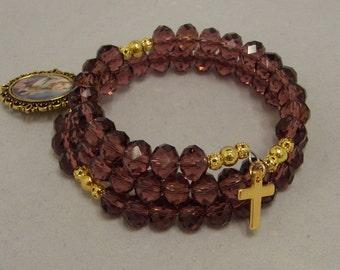 Rosary Wrist Wrap Bracelet, Amethyst Crystal Glass Beads, Catholic Jewellery, Our Lady of Sorrow
