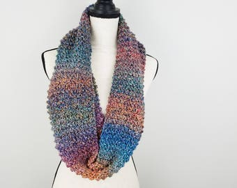 Multicolor Infinity Scarf Hand Knit Striped Scarf Long Cowl