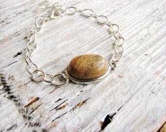 Jasper Bracelet Tan Stone Oval Bracelet Naturalist Jewelry Silver Chain Jewelry Stackable Statement Jewelry Geology Bracelet Minimalist
