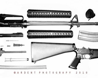 Black and White AR15 Rifle Art Photograph disassembled rifle art - AR Apart a Fine Art Photograph by Sarah McTernen