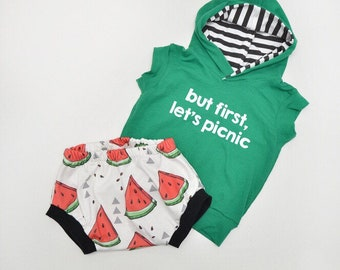 But first lets picnic watermelon Infant/Toddler Tank Hoodie with lined hood and bummie shorts set