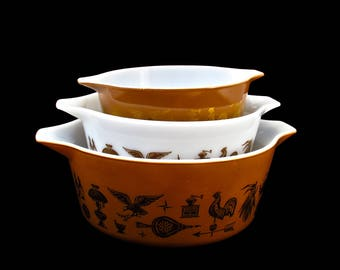 Vintage Pyrex Early American Casseroles Set - Pyrex 470 Series - 473 474 475 - Vintage Kitchen - Colonial - Glassware - Ovenware
