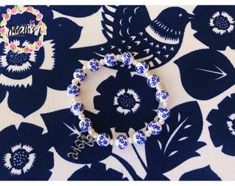 Love Blue Flower Print Bracelet