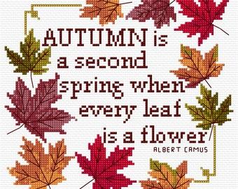 Autumn Leaves Cross Stitch Sampler Instant Download PDF Chart