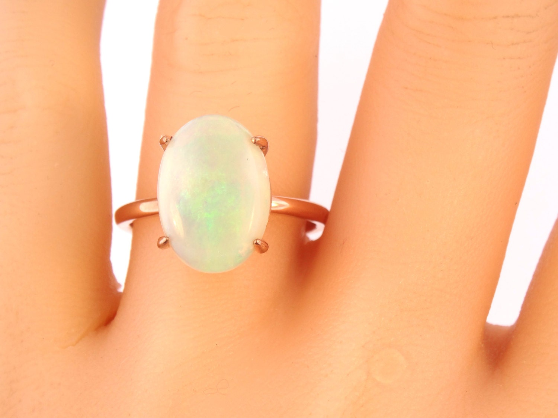 K rose gold oval shape opal engagement ring anniversary ring art