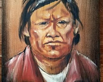 Native American Painting by JR Mason, Native American Art, Native American Portrait, JR Mason Artist, Original Art, Original Painting