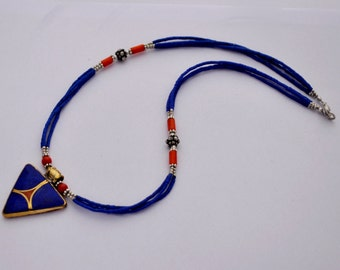 DIY Necklace Kit - Lapis Lapis Beads Handmade Focal Pendant with Brass Findings M05