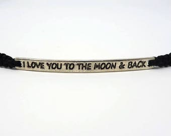 I Love You To The Moon And Back Bracelet / Stamped Bar Bracelet / Daughter Gift / Valentines Gift / Macrame / Love Token / Wish Knots
