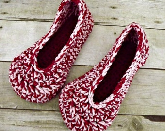 Womens Crochet Slippers pink and white size 7 8 VEGAN FRIENDLY