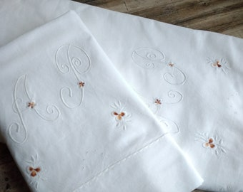 Vintage French of white pure cotton embroidered bedsheet/pillow case  (AP Monogram)