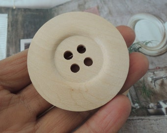 4Pcs Large  50mm Unfinished Natural Wood button 4holes no varnish   (W531)
