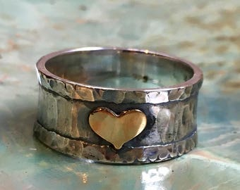 Gold heart Ring, two tones Ring, oxidised ring, valentines ring, wide Ring, promise Silver Ring, bff ring, thumb ring - A heart R2513