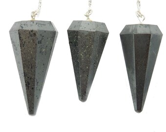 Hematite Point Pendulum Pendant on a Silver Plated Chain (S95B7-05)