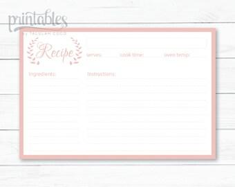 Wreath Recipe Card Lavender Recipe Cards Printable